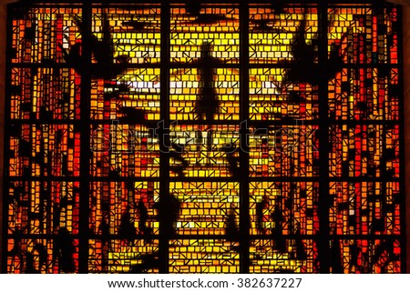 San Francisco,CA,USA - May 30,2008 : Jesus Stained Glass in St.Mary's Cathedral, San Francisco,CA,USA on May 30,2008 - stock photo