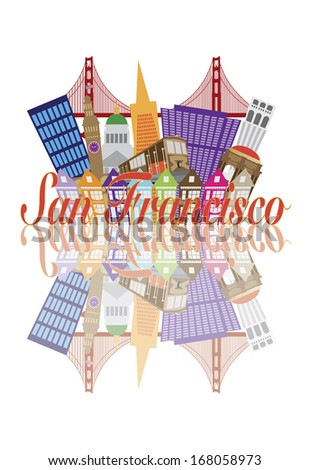 San Francisco California Abstract Downtown City Skyline with Golden Gate Bridge and Cable Car and Reflection Isolated on White Background Raster Illustration - stock photo