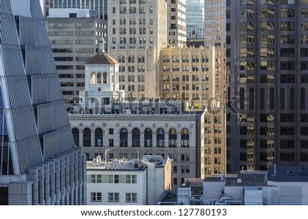 SAN FRANCISCO, CALIFORNIA - JAN 13:  View of the downtown tourist area.  San Francisco's 80% hotel occupancy has pushed average room rates above $155 per night on Jan 13, 2013 in San Francisco, Ca. - stock photo