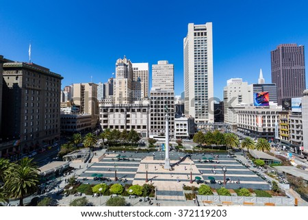 SAN FRANCISCO, CALIFORNIA - SEPTEMBER 17: View of the Union Square in direction north in San Francisco on September 17, 2015. This view provides a nice look to the San Francisco downtown center area. - stock photo