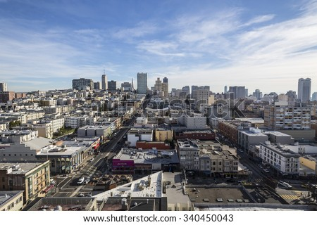 SAN FRANCISCO, CALIFORNIA, USA - January 15, 2013:  Clear sky view towards Nob Hill and downtown San Francisco.   - stock photo