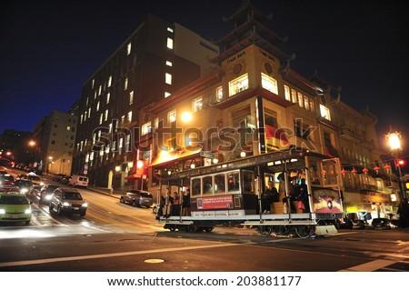 SAN FRANCISCO, California, USA, - NOVEMBER. 8. 2011: The Cable car tram in San Francisco, world's last manually-operated cable car system, icon of San Francisco, China Town, San Francisco - stock photo