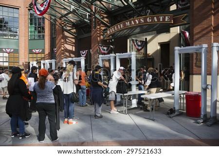 San Francisco, California, USA, October 16, 2014, AT&T Park, baseball stadium, SF Giants versus St. Louis Cardinals, National League Championship Series (NLCS), fans at Willie Mays Gate - stock photo