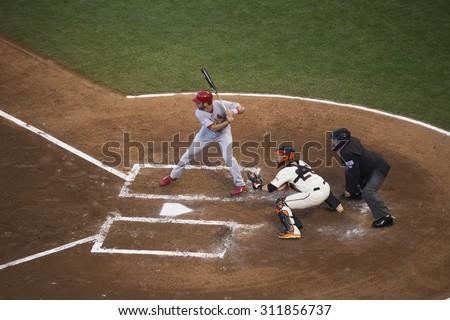 San Francisco, California, USA, October 16, 2014, AT&T Park, baseball stadium, SF Giants versus St. Louis Cardinals, National League Championship Series (NLCS), Matt Adams bats - stock photo
