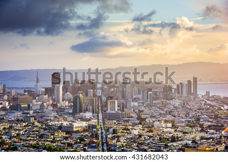 San Francisco, California, USA skyline. - stock photo