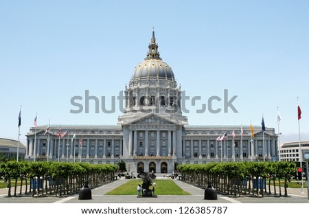 San Francisco City Hall is Beaux-Arts architecture and located in the city's civic center. - stock photo