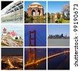 San Francisco city landmarks and tourist destinations collage - stock photo