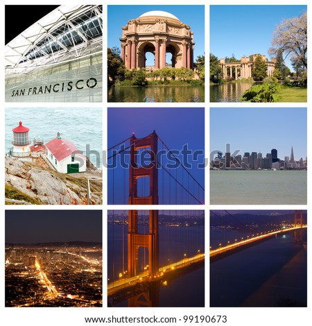 San Francisco city landmarks and tourist destinations collage - stock photo