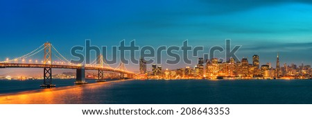 San Francisco city skyline panorama with urban architectures at night. - stock photo