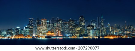 San Francisco city skyline with urban architectures at night panorama. - stock photo