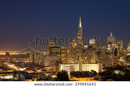San Francisco cityscape panorama with view of the financial district and Bay Bridge - stock photo
