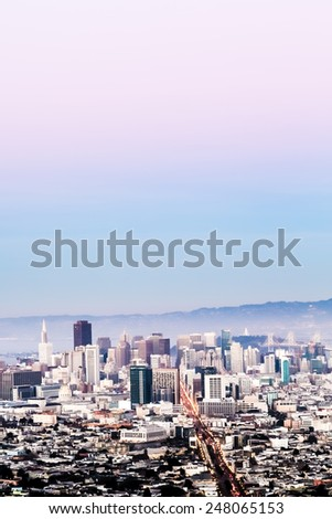 San Francisco cityscape with skyscrapers and open sky - stock photo