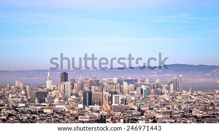 San Francisco cityscape with skyscrapers and wide open sky - stock photo