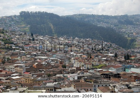 San Francisco de Quito, most often called Quito, is the capital city of Ecuador in northwestern South America. With a population of approximately 1,397,698 according to the last census (2001). - stock photo