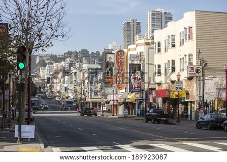 SAN FRANCISCO - DECEMBER 30: Daytime on the streets of San Francisco, on December 30, 2013. San Francisco is known worldwide for its particularly eclectic mix of Victorian and modern architecture. - stock photo