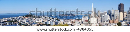 San Francisco detailed panorama (Very large!) - stock photo