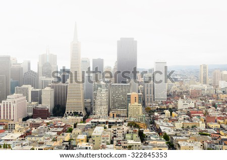 San Francisco Downtown Skyline on a foggy day. - stock photo