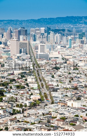 San Francisco downtown view from Twin Peaks - stock photo