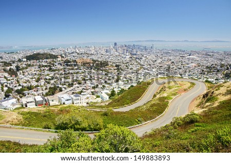 San Francisco downtown view from Twin Peaks (two hills with an elevation of about 922 feet 281 m) - stock photo
