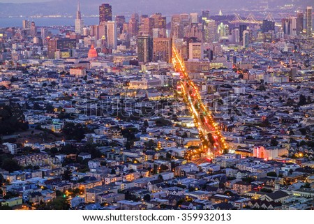 San Francisco Downtown with Market street photographed from Twin Peaks at dusk, California, USA. - stock photo