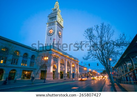 San Francisco Ferry Building at Night.  Port of San Francisco. - stock photo