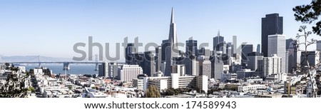 San Francisco financial district cityscape panorama - stock photo