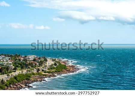 San Francisco Fisherman's place near the town of Piriapolis in the Uruguay Coast - stock photo