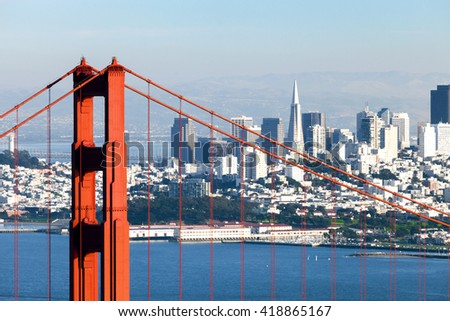 San Francisco from San Francisco Headlands and Golden Gate bridge - stock photo