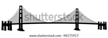 San Francisco Golden Gate Bridge Black and White Clip Art - stock photo