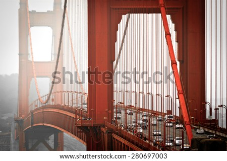 San Francisco, Golden Gate bridge from above, misty weather - stock photo
