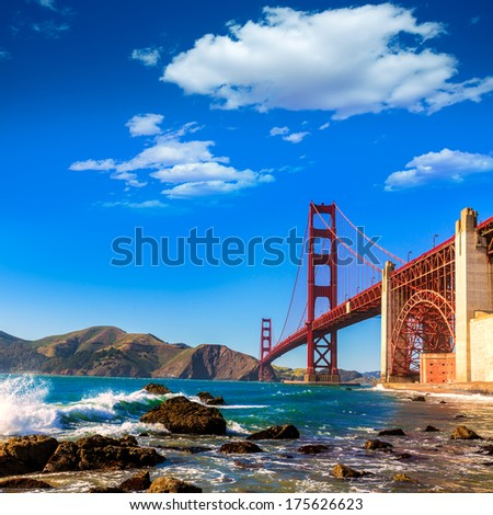 San Francisco Golden Gate Bridge GGB from Marshall beach in California USA - stock photo