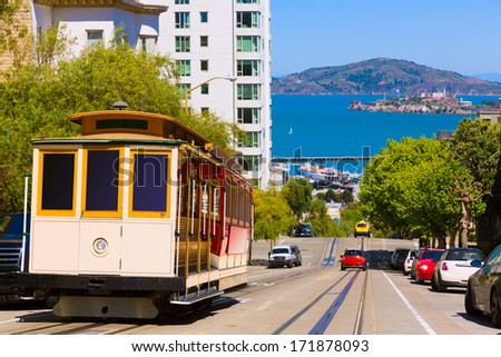 San francisco Hyde Street Cable Car Tram of the Powell-Hyde in California USA - stock photo