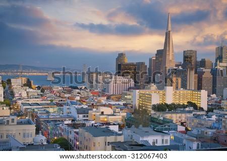 San Francisco. Image of San Francisco skyline at sunset. - stock photo