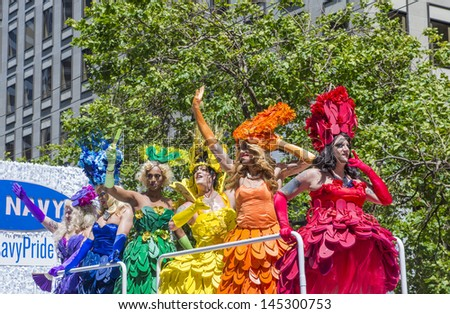 SAN FRANCISCO -  JUNE 30 : An unidentified Drag Queens participates at the annual San Francisco Gay pride parade on June 30 2013 in San Francisco. - stock photo