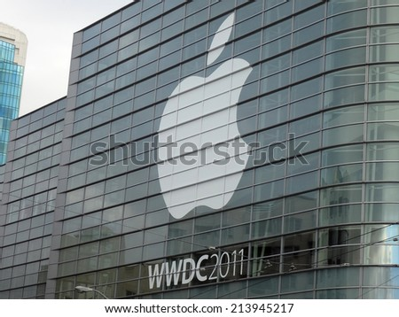 SAN FRANCISCO - JUNE 3: Apple WWDC 2011 event feature the greatest in Apple technology products in the Moscone Center on June 3, 2011 in San Francisco, California. - stock photo