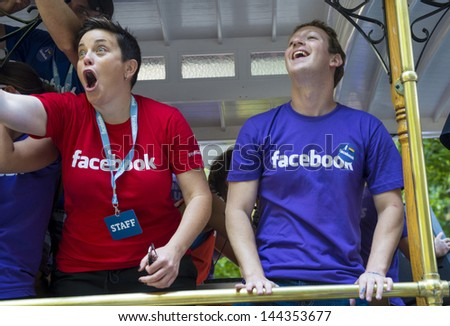 SAN FRANCISCO JUNE 30 : Facebook CEO Mark Zuckerberg Marched With 700 Facebook Employees In San Francisco's Gay Pride Parade on June 30 2013  - stock photo