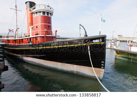San Francisco Maritime National Historical Park is located in San Francisco, California, USA. The park includes a fleet of historic vessels, a visitor center, a maritime museum - stock photo