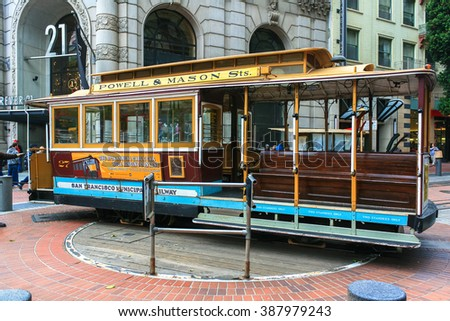 SAN FRANCISCO - MAY 31, 2009: A cable car turns around at the end of its line (Powell / Market st.) on MAY 31, 2009 in San Francisco.  - stock photo