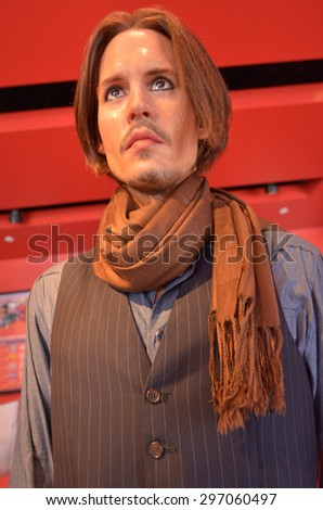 SAN FRANCISCO - MAY 18 2015:Johnny Depp wax figure outside Madame Tussauds museum.He's an American actor, producer and musician how won Golden Globe Award and Screen Actors Guild award for Best Actor. - stock photo