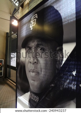 SAN FRANCISCO - MAY 6: Larger than life sized poster of Home run leader and Giants legend Barry Bonds in free section of AT&T Park undernearth the outfield section taken May 6, 2011 San Francisco, CA. - stock photo
