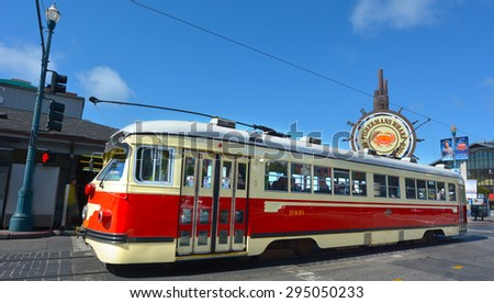SAN FRANCISCO - MAY 15 2015:One of San Francisco's original double-ended PCC streetcars in Fisherman Market.The PCC car is icon of streetcar design and some are still in service around the world. - stock photo