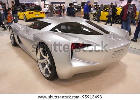 SAN FRANCISCO - NOVEMBER 27: A prototype of Chevrolet Corvette is on display during the 2010 International Auto Show at the Moscone Center in San Francisco on November 27, 2010 San Francisco, CA - stock photo