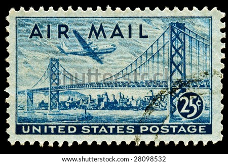 San Francisco-Oakland Bay Bridge and Boeing B337 Stratocruiser Airmail stamp Issued in 1947 - stock photo