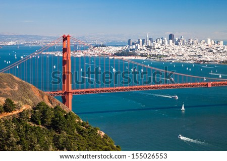 San Francisco Panorama from San Francisco Bay - stock photo