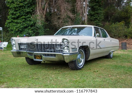 SAN FRANCISCO - SEPTEMBER 29: A 1967 Cadillac Calais is on display during the 2012 Jimmy's Old Car Picnic in Golden Gate Park in San Francisco on September 29, 2012 - stock photo