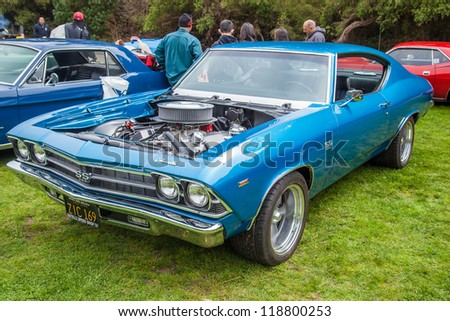 SAN FRANCISCO - SEPTEMBER 29: A 1969 Chevrolet Chevelle is on display during the 2012 Jimmy's Old Car Picnic in Golden Gate Park in San Francisco on September 29, 2012 - stock photo
