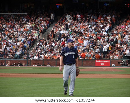 SAN FRANCISCO - SEPTEMBER 19: Brewers vs. Giants: Brewers Corey Hart walks towards right field to take position in outfield.  September 19, 2010 at the ATT Park San Francisco California. - stock photo