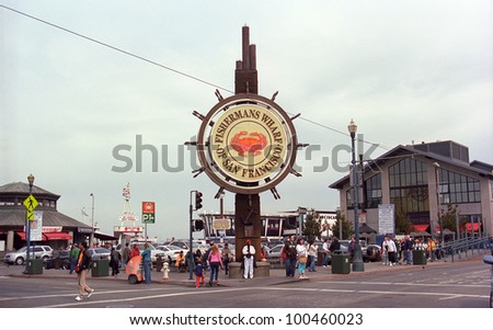 SAN FRANCISCO - SEPTEMBER 20: Famous Fisherman's Wharf sign on September 20, 2007 in San Francisco, California. The area's tourist attractions draw approximately 12 million visitors a year. - stock photo