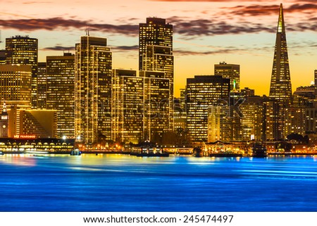 San Francisco skyline at night, California, USA. - stock photo
