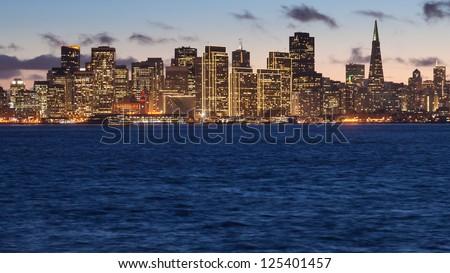 San Francisco skyline at sunset, seen from Treasure Island - stock photo